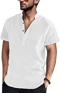 FUERI Mens Short Sleeve Shirt Grandad Cotton Linen Shirts Banded Collar Plain Summer Henley T Shirt Tops