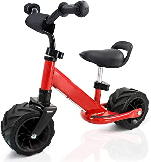 Costzon Kids Balance Bike, No Pedal Bicycle with Protective Bumper Sticker, Adjustable Handlebar & Seat, Wide PU Tire, Beach Outdoor Cycling Training for Toddlers (Red)