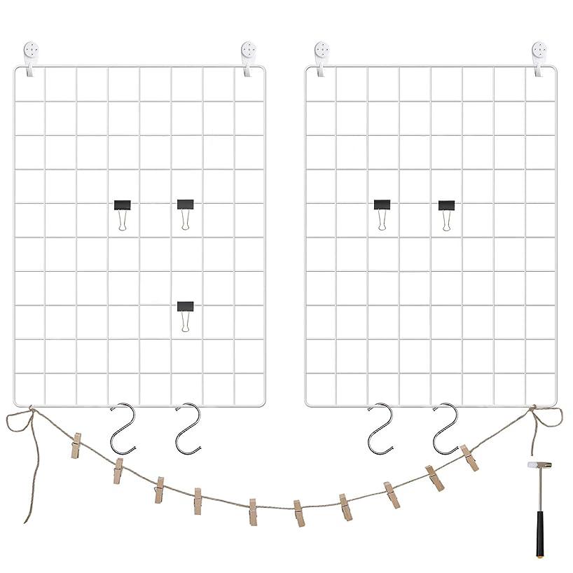 SONGMICS Grid Panel, Photo Wall Display, Metal Mesh Wall Decor, Multifunctional Hanging Picture Wall, DIY, Art Display, S Hook, Clip, Hemp Cord, Set of 2, White, ULPP01W