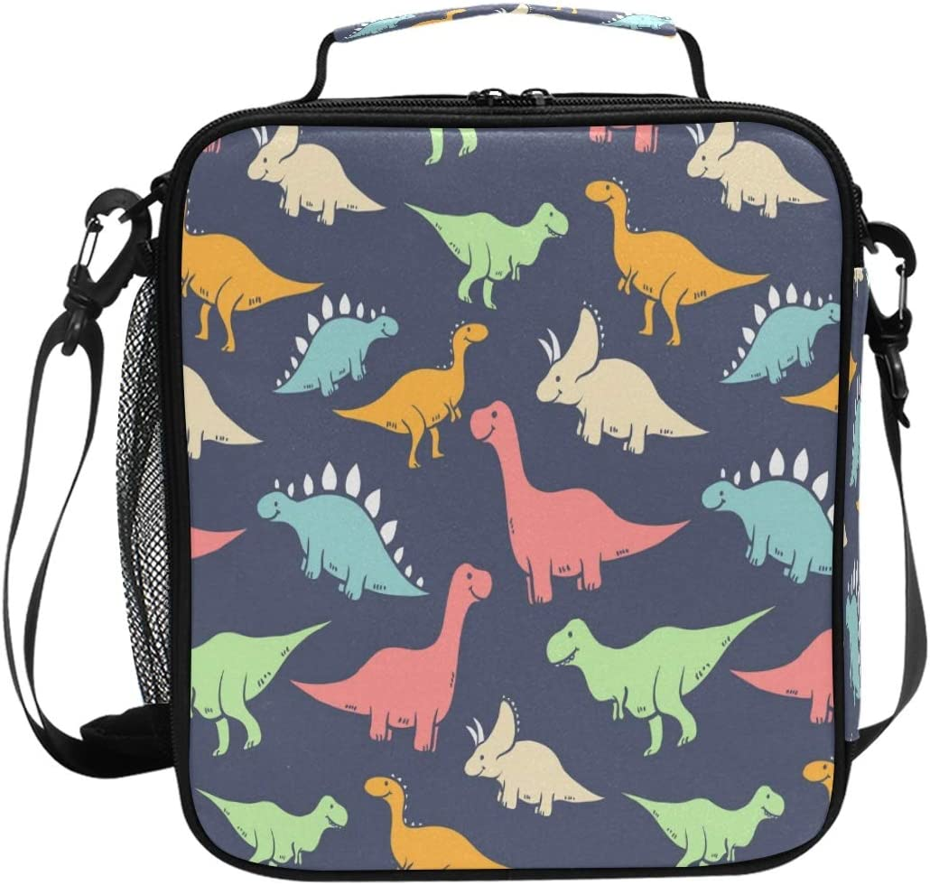 OREZI Cute Vector Dinosaur School Lunchbox for Boys Girls,Insulated Lunch Tote Bag with Adjustable Strap,Leakproof and Durable Lunch Cooler for Work Office (multi)
