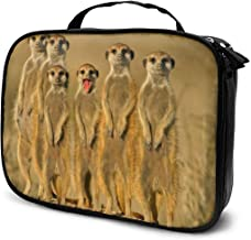Funny Four Meerkats Animal Cosmetic Bags Toiletries Organizer Bag For Womens Multifunction Brush Makeup Pouch Pen Pencil Power Lines Travel Cases Resistance Carry Handle Storage
