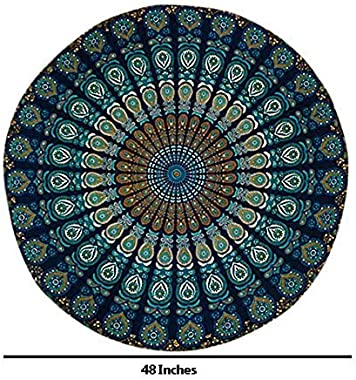 Nestford 48 Inches 100% Table Cloth Round Table Cover Blue Lavender Throw mat Fully Cotton Yoga mat