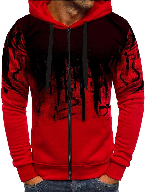 Hoodies for Men Zip Up Men's Ink-Splash Printed Athletic Sweatshirt Long Sleeve Drawstring Hooded Hoodies Outwear Tops Coats