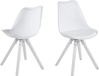 Amazon Brand - Movian Arendsee - Juego de 2 sillas de comedor 55 x 485 x 85cm blanco