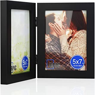 RPJC 5x7 Soild Wood Double Picture Frames with High Definition Glass for Table Top Display Photo Frames