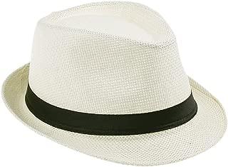 Elee Unisex Kids Ivory Straw Trilby Fedora Cap Jazz Hat Short Brim Sunhat
