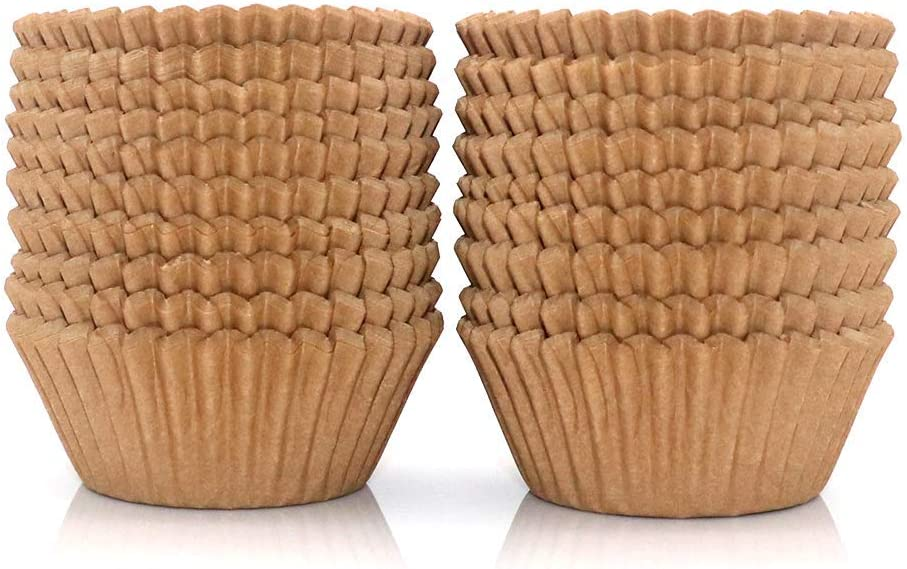 300Pcs Cupcake Liners Natural Muffin Liners Greaseproof Paper Baking Cups Standard Size Unbleached Paper Cupcake Liner for Baking Muffin and Cupcake, Natural Color