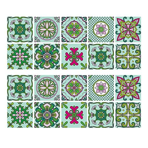 Hwtcjx cenefa adhesiva cocina 15 x 15cm, vinilos baño azulejos, 20 piezas vinilo azulejo baño, Hecho de material de PVC, autoadhesivo, impermeable, fácil de fregar, para cocina, muebles, baño (verde)