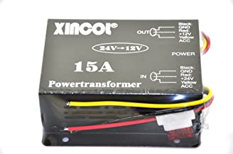 XINCOL 15A 180W Truck Car Power Supply DC 24V to 12V Buck Converter Voltage Reducer Step-down Transformer with Full Protections Inside Memory Line and Inline Fuse