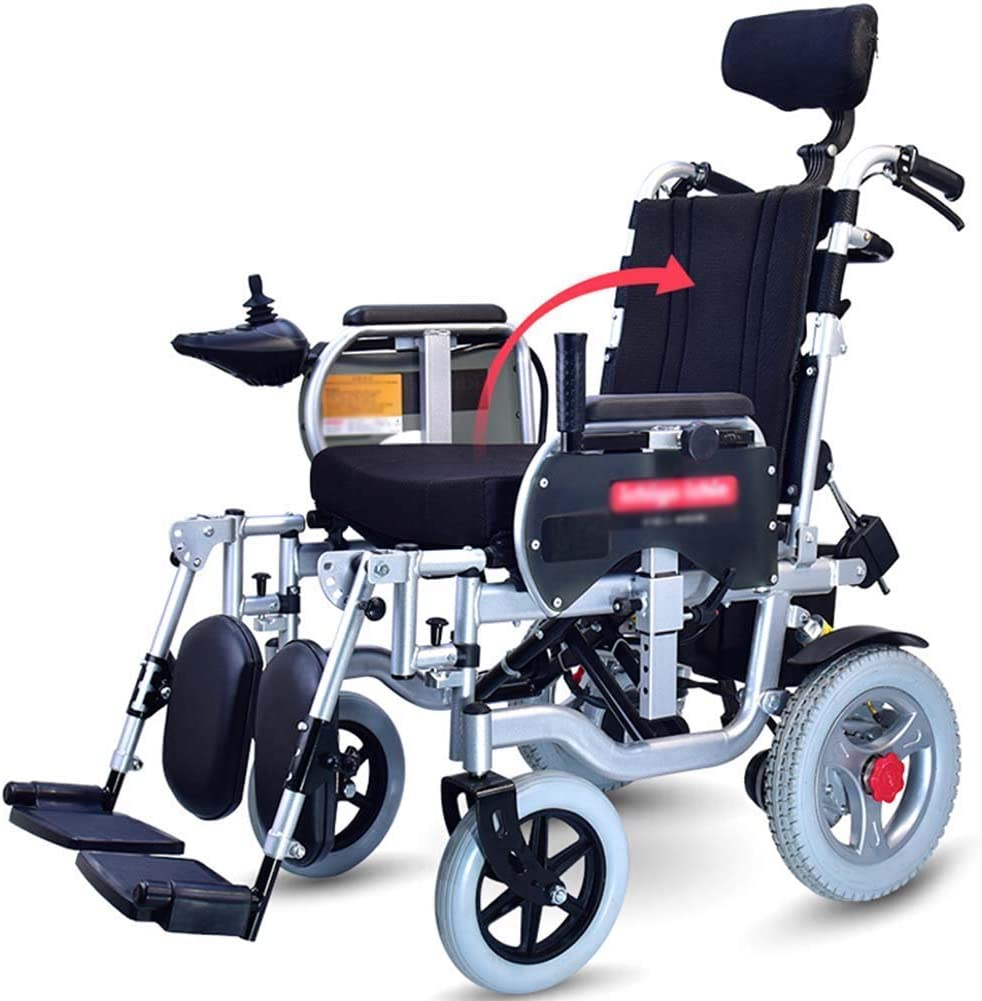GAXQFEI Silla de ruedas eléctrica con el apoyo para la cabeza, Silla de ruedas eléctrica plegable, plegable Silla de ruedas eléctrica portátil, Anchura del asiento 45 cm, ajustable Respaldo y pedales