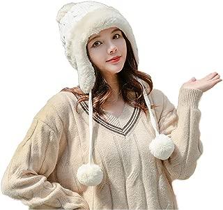 Chengfengup Womens Knit Peruvian Beanie Hat Winter Warm Ski Hat Cap with Earflap Pom Pom