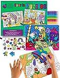Purple Ladybug 2 Puzzles para niños con Unicornio y Sirena – Juguetes creativos para Niñas con 10 Rotuladores de Colores y Estuche Escolar Gratis! Arte Divertido, Niñas