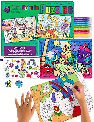 2 Puzzles para niños con Unicornio y Sirena – Juguetes creativos para Niñas con 10 Rotuladores de Colores y Estuche Escolar Gratis! Arte Divertido, Niñas