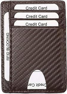 Credit Card Holder for Men, TERSELY Minimalist Slim Wallet RFID Blocking Front Pocket Secure Thin Credit Card Holder (Carb...
