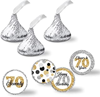 """Confetti Polka Dot 70th Birthday Party Kiss Sticker Labels, 300 Party Circle Sticker sized 0.75"""" for Chocolate Drop Kisses by AmandaCreation, Great for Party Favors, Envelope Seals & Goodie Bags"""