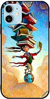 حافظة واقية لأبل آيفون 12 6.0 بوصة فتاة على الكرة الأرضية مع كتب