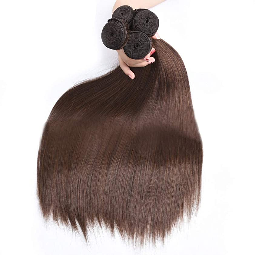 紛争全部共産主義者BOBIDYEE 絹のようなストレートの髪の束ブラジルのストレート本物の人間の髪の毛の拡張子#4ブラウン色ナチュラルルッキング(1バンドル、10-28インチ)女性用合成かつらレースかつらロールプレイングかつら (色 : ブラウン, サイズ : 28 inch)