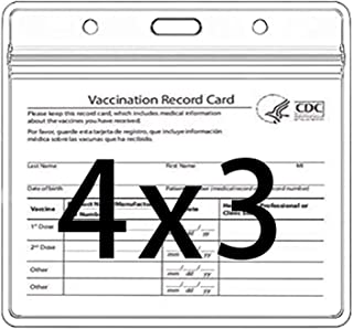 CDC Vaccination Card Protector 4 X 3 Inches Immunization Record Vaccine Cards Cover Holder Clear Vinyl Plastic Sleeve with...