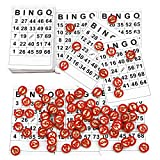Pralb Disposable Complete Game Set with 120 Bingo Cards, 75Pcs Rustic Wooden Bingo Chips, Custom DIY Board Game Pieces, and Arts & Crafts | Traditional, Holiday, & Wedding Games