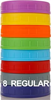 REGULAR Mouth Mason Jar Lids [8 Pack] for Ball, Kerr and More - Food Grade Colored Plastic Storage Caps for Mason/Canning ...