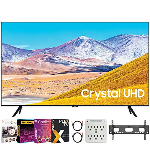 SAMSUNG UN50TU8000 50' 4K Ultra HD Smart LED TV (2020 Model) Bundle with Premiere Movies Streaming 2020 + 30-70 Inch TV Wall Mount + 6-Outlet Surge Adapter + 2X 6FT 4K HDMI 2.0 Cable