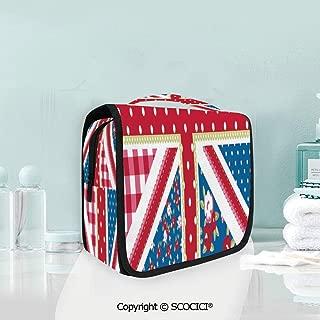 SCOCICI Travel Hanging Wash Bag Kit Cute British Flag Floral Style Retro Po