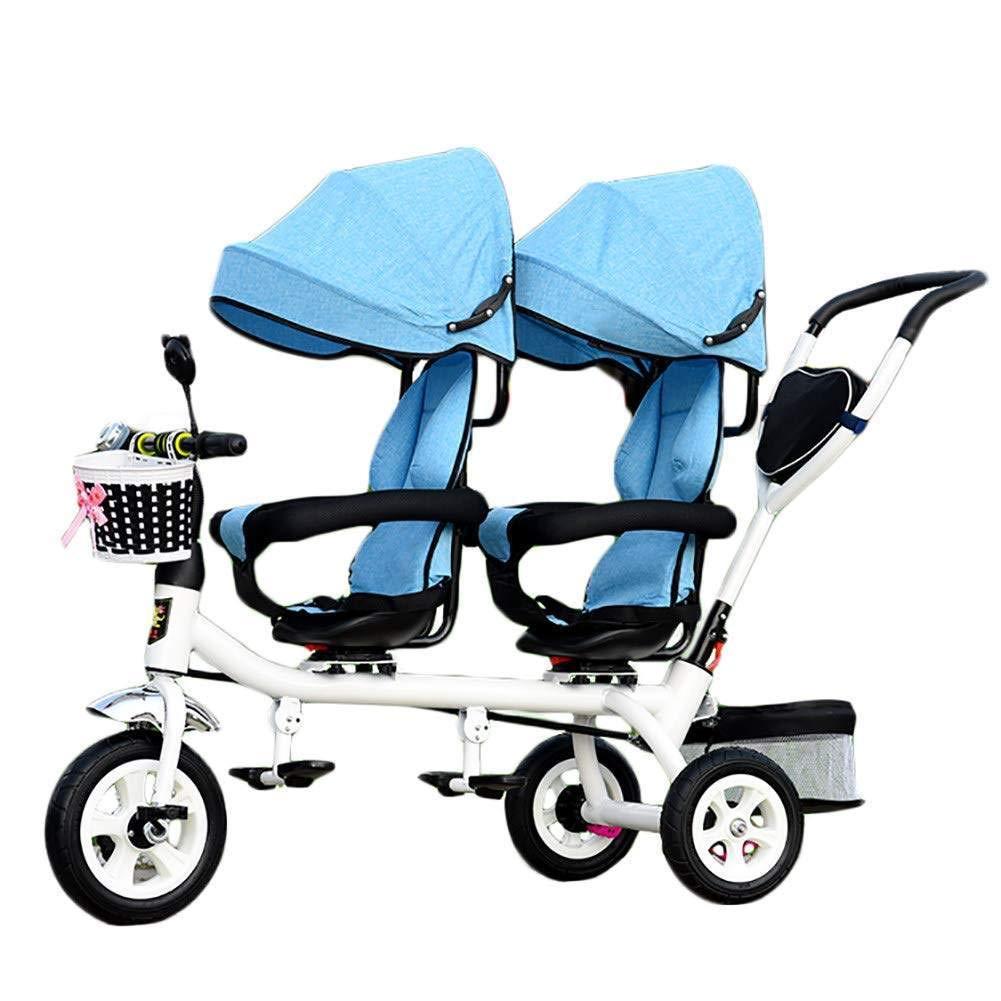 CHHMAELOVE Niños 4 en 1 Trike Doble, Ligero, Triciclo de 3 Ruedas con Bicicleta para bebé, Carrito de bebé con Dos Asientos para niños de 1-7 años,Blue: Amazon.es: Jardín