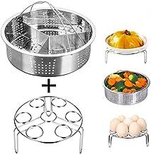JUSTDOLIFE Stainless Steel Steamer Basket Set Creative Food Steamer With Divider Egg Rack One Size Silver