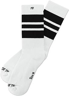 Los Black Blacks | Calcetines retro de rayas de alto medio | rayas blancas, negras | calcetines unisex estilizados entubados