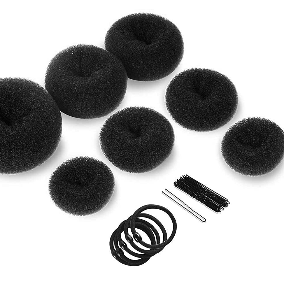Hair Bun Makers, Teenitor Hair Styling Accessories Kit with 5 Bands& 20 Bobby Pins & 7 Buns for Chignon Hair Styles (2 Small 2 Medium 2 Large 1 Extra-large), Black qxcjmbzi525