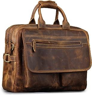 Kattee Men's Leather Durable Briefcase, 16