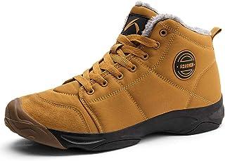 أحذية شتوية للرجال مقاومة للماء أحذية مقاومة للانزلاق مبطنة بالكامل بالفرو غير رسمية خفيفة الوزن للمشي