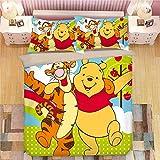 POMJK Pooh Bear, Winnie Bedding Sets, Tigger Duvet Cover, 100% Microfibre, 3D Digital Print, Children's Anime Bed Linen (A01, Single 135 x 200 cm + (50 x 75 cm) × 2)