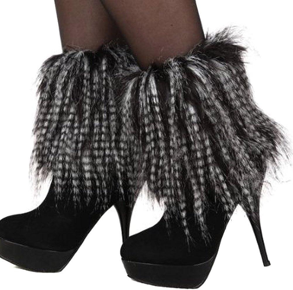 Women Winter Soft Faux Fur Leg Warmers Boots Cuffs Cover 20cm
