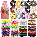 65 Pcs Hair Scrunchies Velvet Hair Scrunchies Silk Scrunchies Chiffon Flower Scrunchies Elastic Hair Ties Ropes Scrunchie for Women or Girls Hair Accessories for Christmas Thanksgiving Gift
