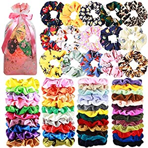 Beauty Shopping 65 Pcs Hair Scrunchies Velvet Hair Scrunchies Silk Scrunchies Chiffon Flower Scrunchies