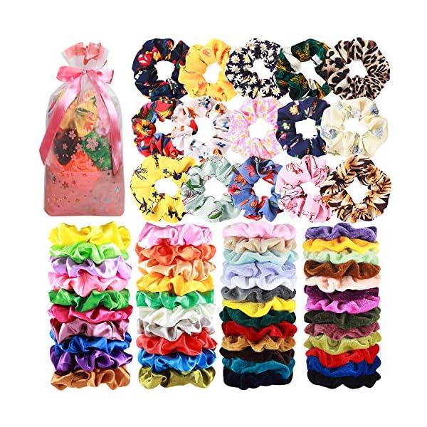 Beauty Shopping 65 Pcs Hair Scrunchies Velvet Hair Scrunchies Silk Scrunchies Chiffon Flower Scrunchies