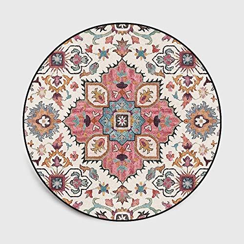 WIVION Area Rug American Rural Flower Runder Teppich Indischer Ethnischer Teppich Für Wohnzimmer Couchtisch rutschfeste Bodenmatte Für Kinderzimmer,160x160cm(63x63inch)