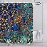 YULUOSHA Golden Circle Duschvorhang Mandala Bohemian Stil Dekoration Polyester Wasserdicht Waschbar Vorhang Set für Badezimmer Dekor mit Haken 72 x 72 Zoll Gold Blau