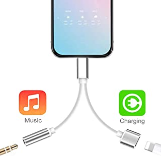Headphone Adapter Jack Dongle for iPhone Xs/Xs Max/XR/ 8/8 Plus/X (11) / 7/7 Plus Adapter Listen to Music Adapter Audio and Charge 3.5mm Splitter Converter Compatible with Adaptor Charger.(Sliver)