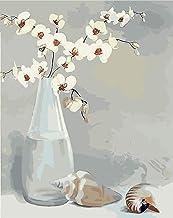 Drücken Sie digitale DIY Ölgemälde, Leinen Leinwand Kit Kunstwerk Dekoration Geschenk-Blume Muschel 40 * 50 Zoll (mit Rahmen)