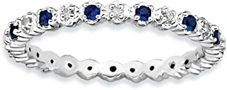 2.25mm Stackable Created Sapphire & .04 Ctw HI/I3 Diamond Silver Band