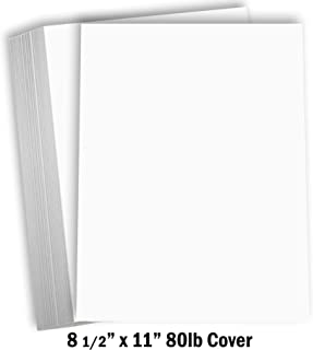 "Hamilco White Cardstock Thick Paper – 8 1/2 x 11"" Blank Heavy Weight 80 lb Cover Card Stock - for Brochure Award and Stati..."
