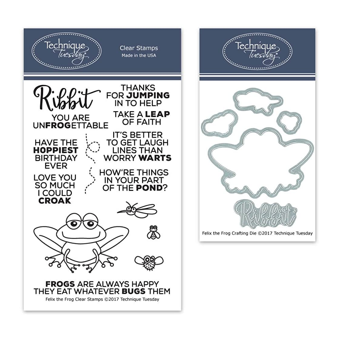 Felix The Frog Clear Stamps with Matching Metal Dies | Clear Rubber Stamps | Photopolymer Stamps | Die Cuts | Craft Dies | Card Making Supplies