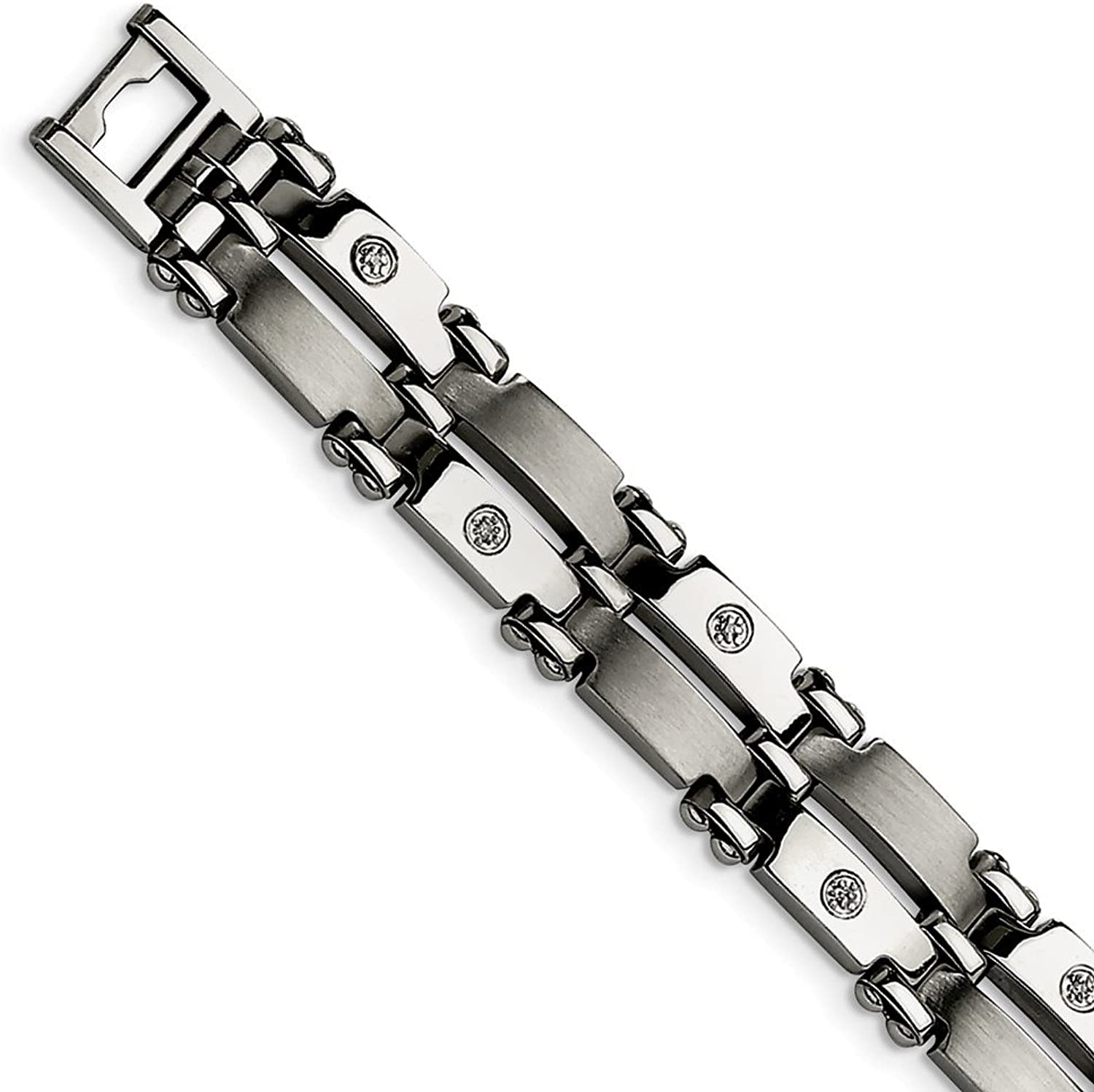 Beautiful Stainless Steel w 14k White gold Accents & Diamonds 8.5in Bracelet