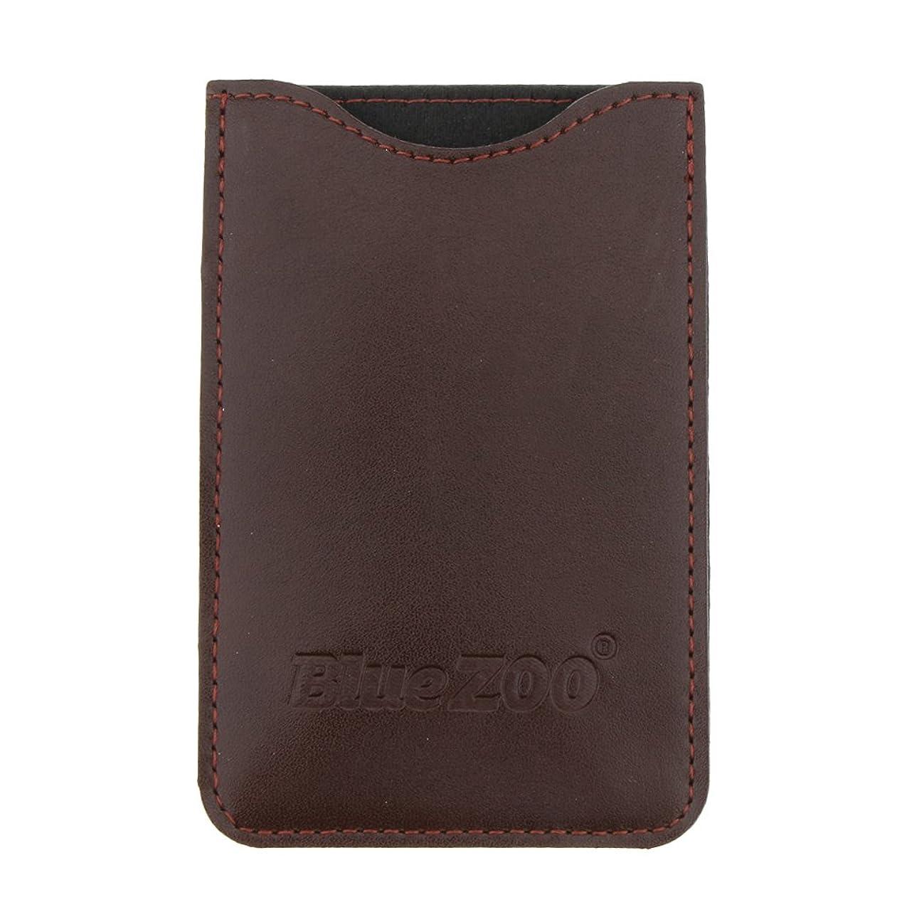 不十分なほのめかす反抗木製のポケットヒゲの櫛の保護収納ポーチ、小さな櫛PUレザーケース - 褐色