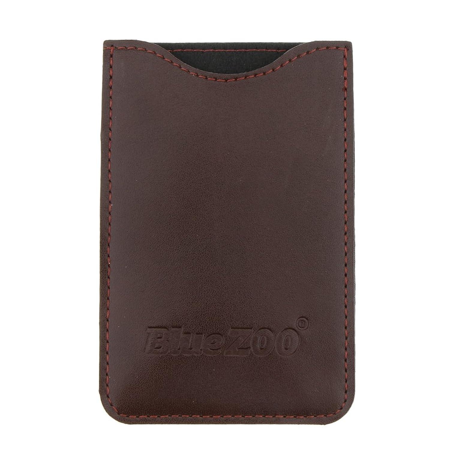 帽子雄弁家錫木製のポケットヒゲの櫛の保護収納ポーチ、小さな櫛PUレザーケース - 褐色