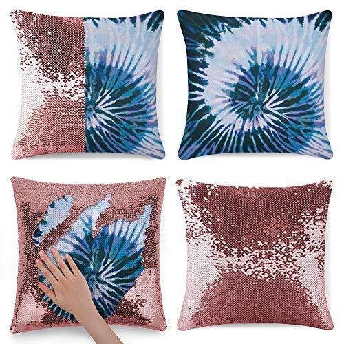 pealrich Fundas de almohada con lentejuelas de 40,6 x 40,6 cm, color azul turquesa y azul acuarela, funda de cojín cuadrada para sofá, dormitorio, coche