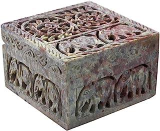 Hashcart Indian Artisan, Handmade & Handcrafted Stone Jewelry Box/Jewelry Storage Organizer/Trinket Jewelry Box/Gift Box w...