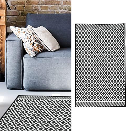 Teppich Outdoor 90x150 cm │Kunststoff schwarz-weiß │ Bodenmatte für Außenbereich (1 x Teppich schwarz/weiß)